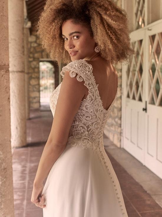 Bride wearing Chiffon and Lace Wedding Dress